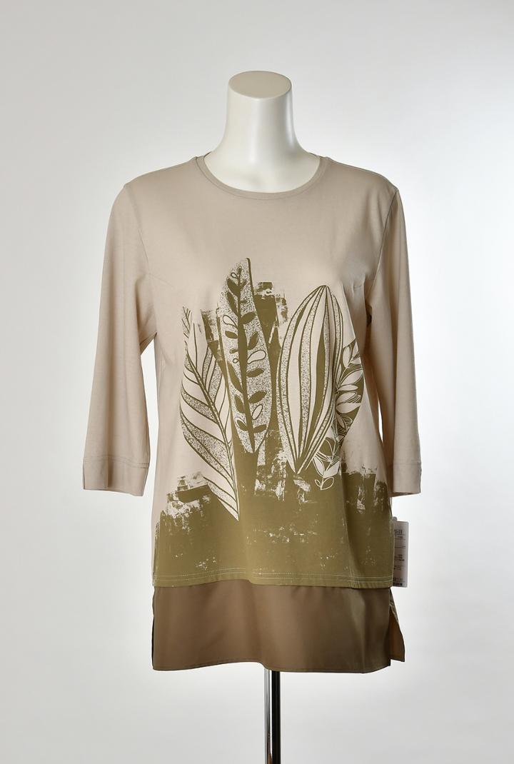 Se ninon リーフプリントTシャツ レディース ミセス 春夏