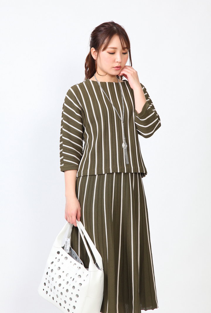Se ninon 日本製 ニットスーツ ストライプニット セットアップ レディース ミセス 春夏