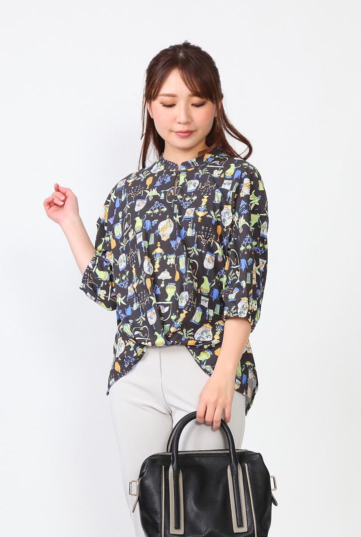Se ninon 日本製 七分袖 プリントTシャツ デザインTシャツ コロニアルプリント レディース ミセス 春夏