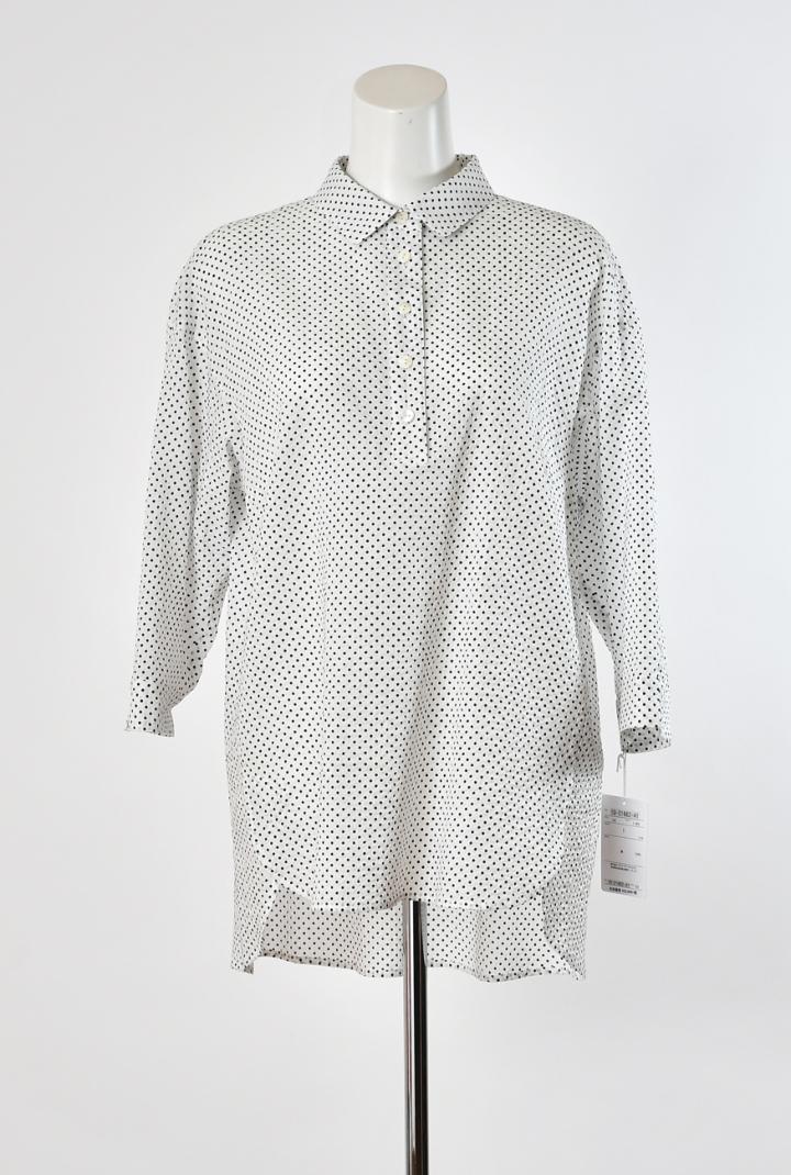 Se ninon 七分袖 衿付き チュニック丈 シャツブラウス ミラクルウェーブ素材 ドット柄ブラウス レディース ミセス 春夏