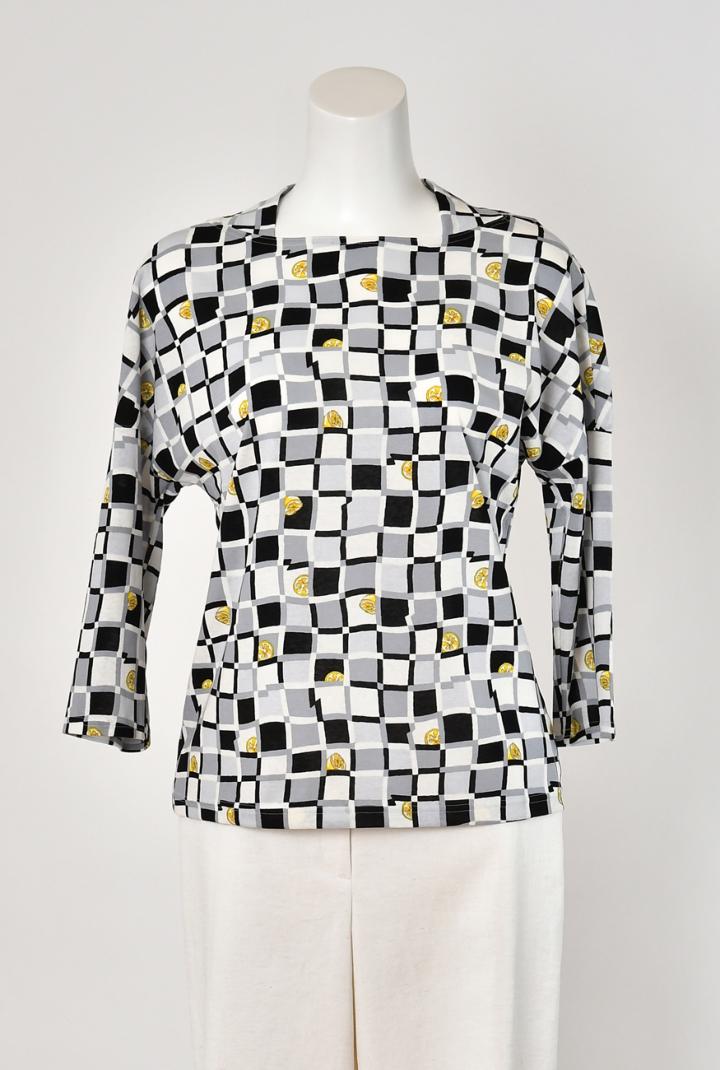 Se ninon 日本製 綿100% カットソー ブロック&レモン柄 七分袖シャツ レディース ミセス 春夏