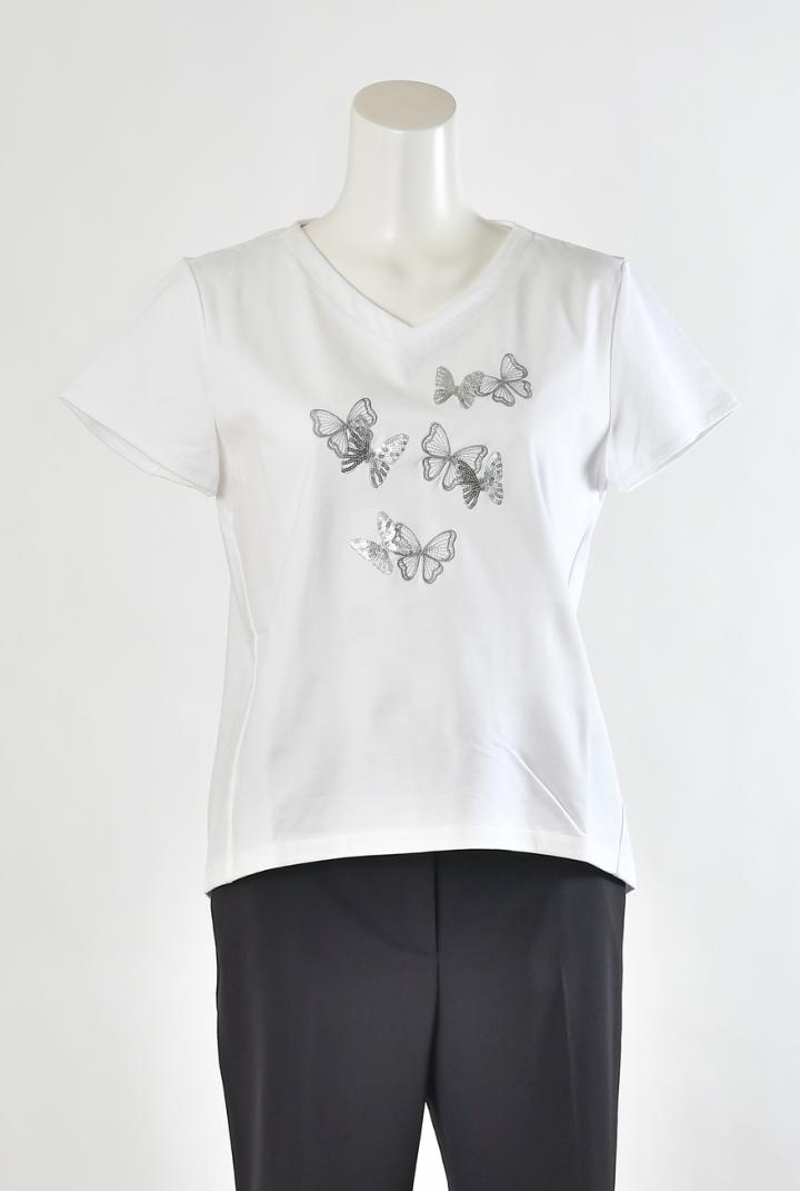 プリマティーボ ハナエモリ ドゥ カットソー Tシャツ トルファン天竺 パピヨン刺繍 レディース 春夏