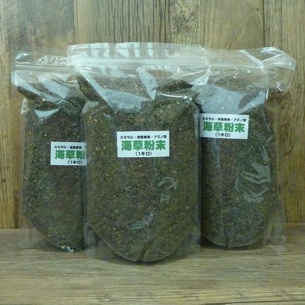 有機 ☆正規品新品未使用品 肥料人気の 海草粉末 1kg を3袋セットにして アルギン酸など60種類以上の微量要素 家庭菜園 3袋セット 上質 ガーデニング 肥料 園芸