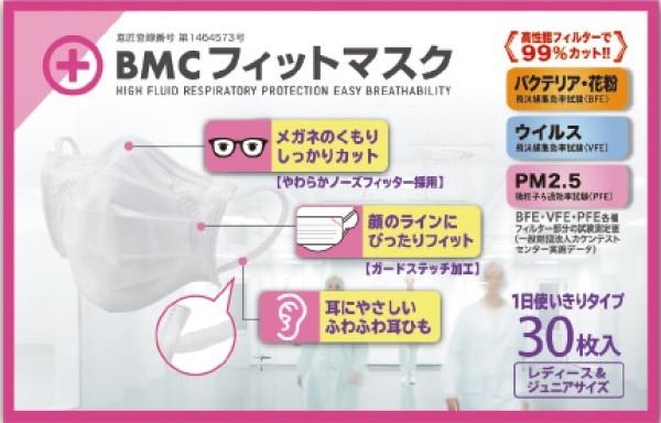 耳が痛くなりにくい ぴったりフィット 曇りにくい 再再販 BMCフィットマスク 30枚 ジュニア レディース 店