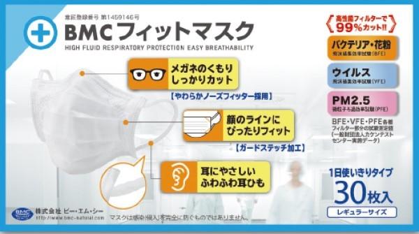 耳が痛くなりにくい 現金特価 ぴったりフィット 曇りにくい 30枚 BMCフィットマスク 日本未発売 レギュラー
