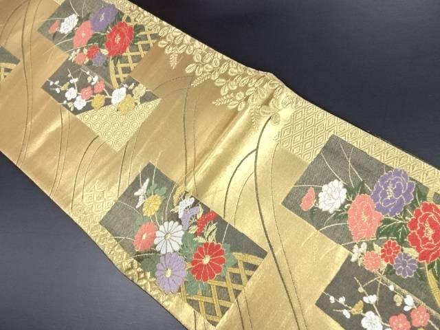 【IDN】 未使用品 本金箔色紙に蛇籠・牡丹・菊模様織り出し袋帯【リサイクル】【着】