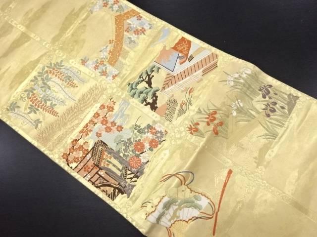 【IDN】 本金箔天井柄に屋敷幕藤模様織り出し袋帯【リサイクル】【中古】【着】