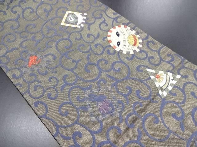 【IDN】 抽象猫に兎・唐草模様織り出し袋帯【リサイクル】【中古】【着】