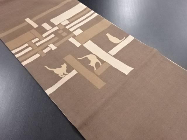【IDN】 玄才作 手織り真綿紬猫模様袋帯【リサイクル】【中古】【着】