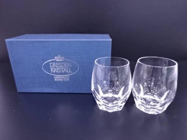 【IDN】 Dresden kristall オールドファッションダイヤモンドペアグラス【中古】【道】