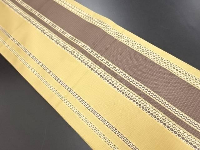 【IDN】 金通し変わり織縞模様織り出し全通袋帯【リサイクル】【中古】【着】