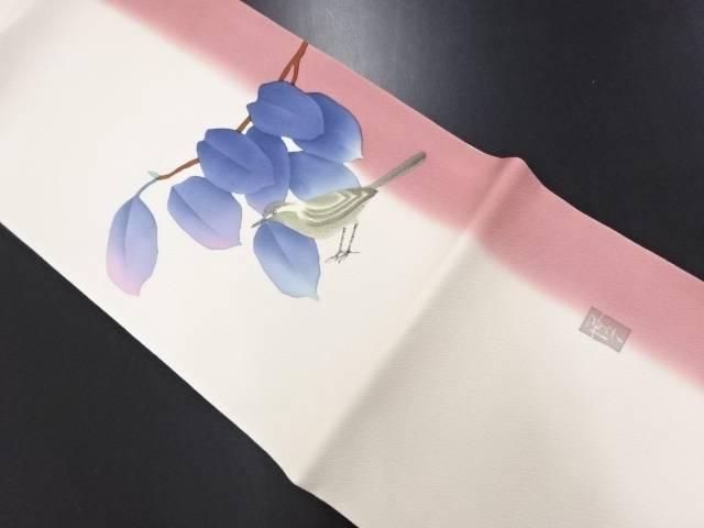 【IDN】 作家物 手描き枝葉に鳥模様開き名古屋帯(額縁仕立て)【リサイクル】【中古】【着】