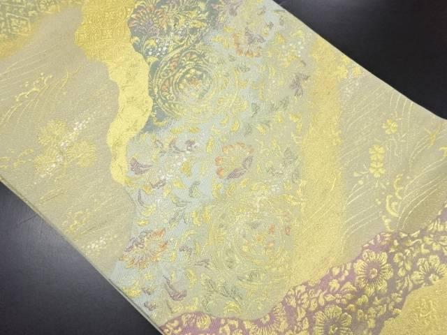 【IDN】 本金道長取に唐花・華紋模様織り出し袋帯【リサイクル】【中古】【着】