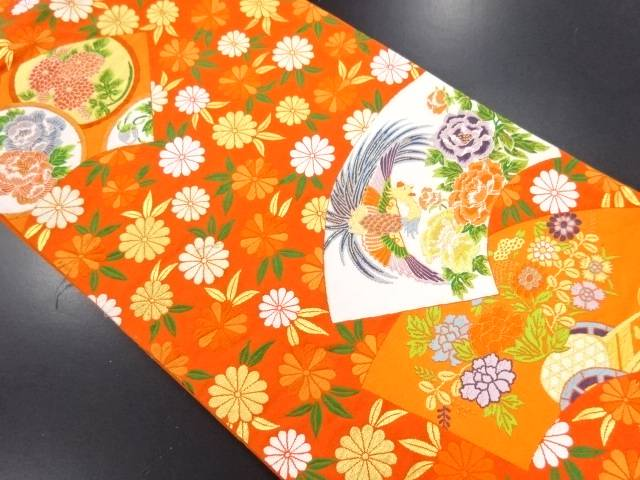 【IDN】 本金菊散らしに扇面模様織り出し袋帯【リサイクル】【中古】【着】