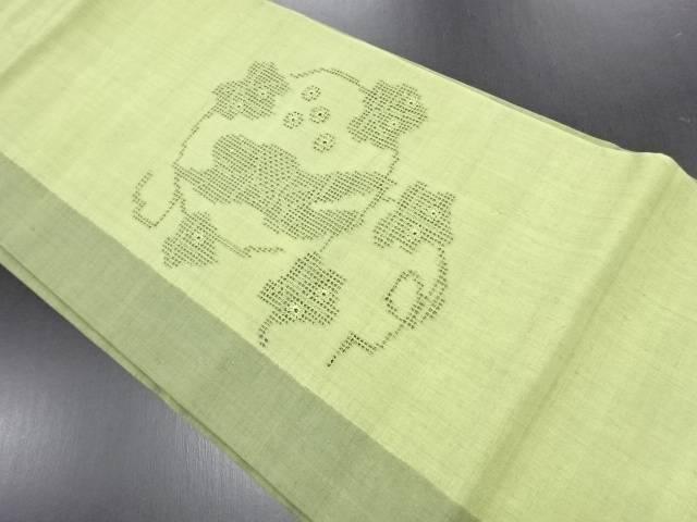 【IDN】 作家物 絞りカットワーク葡萄に抽象人物模様手織り真綿紬名古屋帯【リサイクル】【中古】【着】