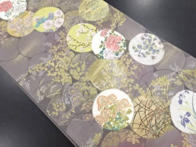【IDN】 本金丸紋に四季草花模様織り出し袋帯【リサイクル】【中古】【着】