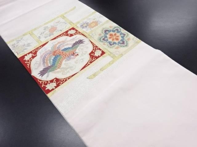 【IDN】 本綴れ 鳳凰に華紋・草花模様織り出し袋帯【リサイクル】【中古】【着】