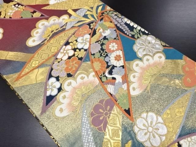 【IDN】 本金笹に鳳凰・鶴・梅菊模様織り出し袋帯【リサイクル】【中古】【着】