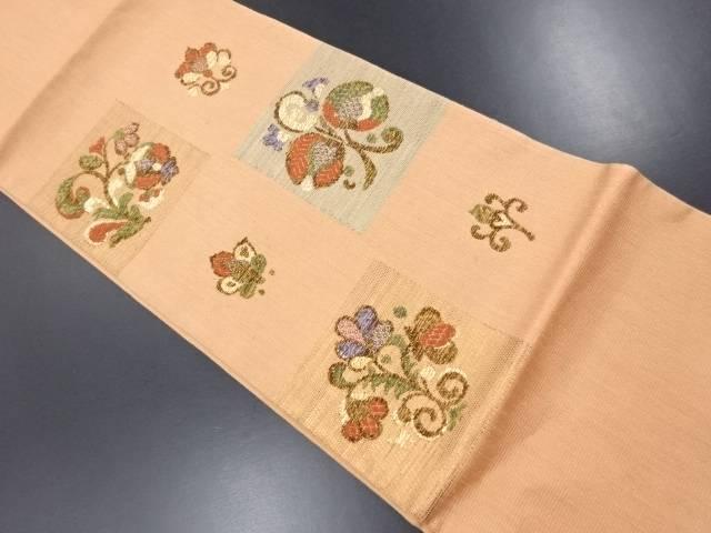 【IDN】 色紙に花更紗模様織り出し袋帯【リサイクル】【中古】【着】