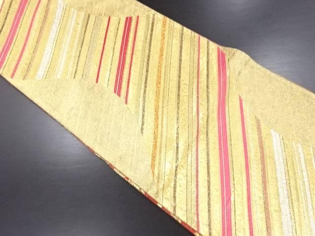 【IDN】 佐賀錦 斜め縞模様織り出しリバーシブル袋帯【リサイクル】【中古】【着】