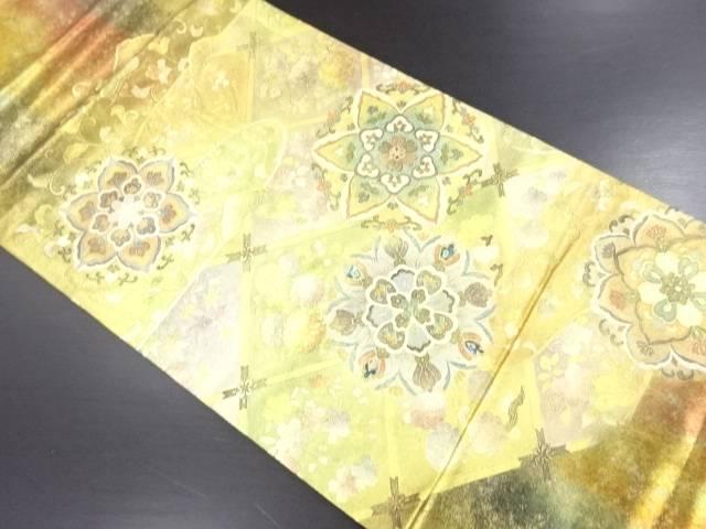 【IDN】 箔置き螺鈿天井柄に華紋模様袋帯【リサイクル】【中古】【着】