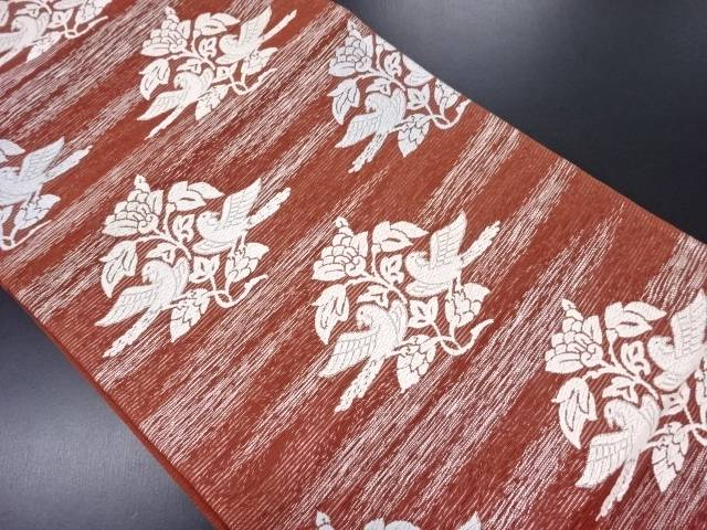 【IDN】 絽花鳥に霞模様織り出し袋帯【リサイクル】【中古】【着】