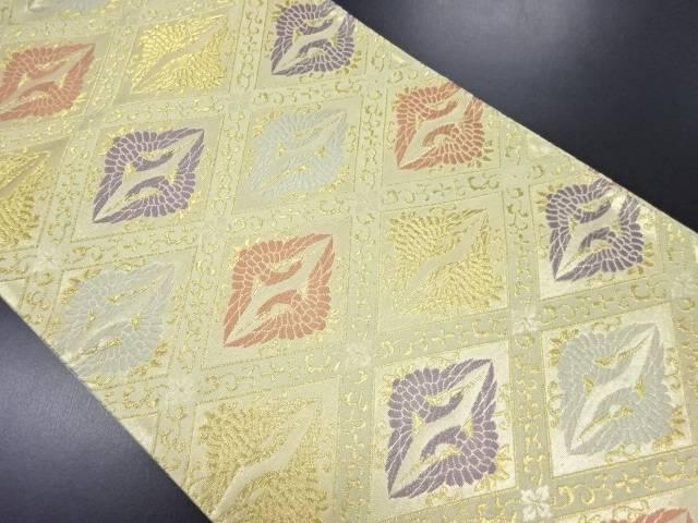 【IDN】 格子に向かい鶴模様織り出し袋帯【リサイクル】【中古】【着】