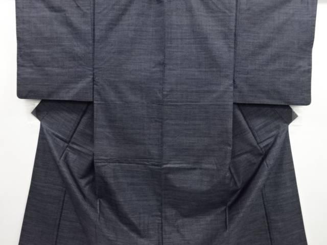 【IDN】 横段織り出し本場正藍泥染め大島紬男物着物アンサンブル【リサイクル】【中古】【着】