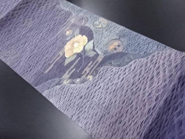【IDN】 未使用品 紗すくい織霞に椿模様織り出し袋帯(未仕立て)【リサイクル】【着】