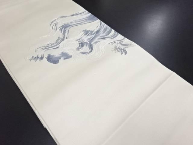 【IDN】 銀糸波模様織り出し袋帯【リサイクル】【中古】【着】