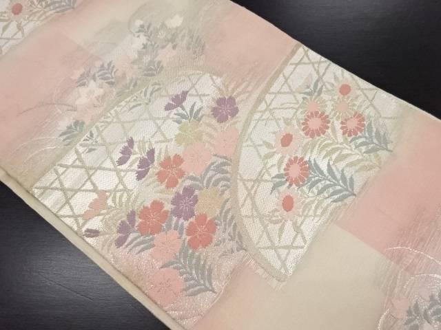 【IDN】 紗籠目に秋草模様織り出し袋帯【リサイクル】【中古】【着】