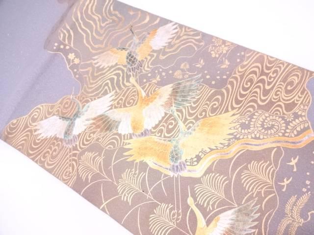 【IDN】 金彩流水に群鶴・草花模様袋帯【リサイクル】【中古】【着】