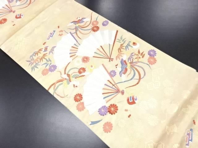 【IDN】 扇に鳳凰・菊・笹・宝模様織り出し袋帯【リサイクル】【中古】【着】
