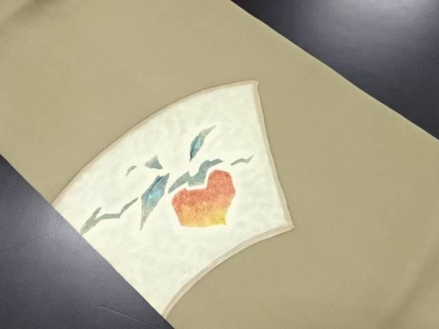 【IDN】 塩瀬地紙に抽象柿模様名古屋帯【リサイクル】【中古】【着】