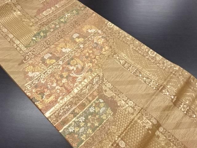 【IDN】 花兎に鳳凰・花更紗模様織り出し袋帯【リサイクル】【中古】【着】