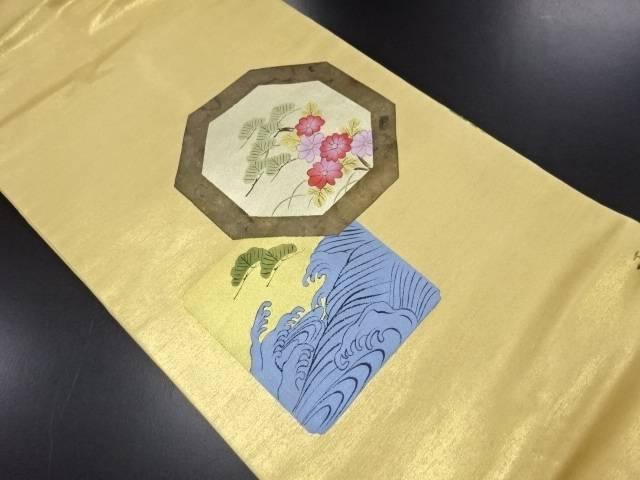 【IDN】 作家物 本金箔松菊に荒波模様名古屋帯【リサイクル】【中古】【着】