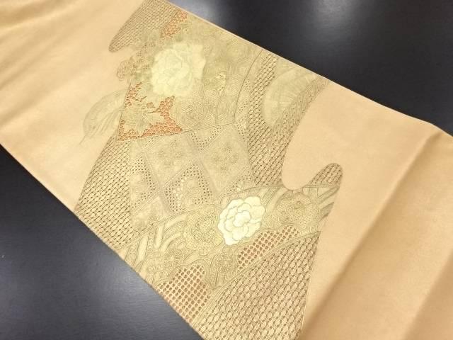 【IDN】 金彩汕頭蘇州刺繍地紙に牡丹模様袋帯【リサイクル】【中古】【着】