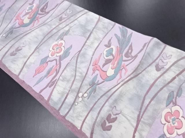 【IDN】 ふくれ織尾長鳥に枝花模様織り出し袋帯【リサイクル】【中古】【着】