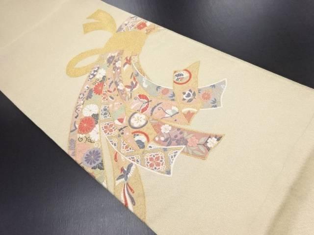 【IDN】 綴れ束ね熨斗に花・蝶模様織り出し袋帯【リサイクル】【中古】【着】