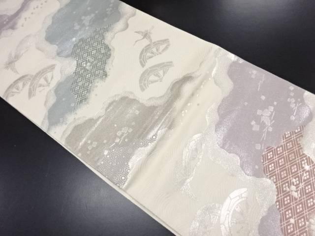 【IDN】 霞に片輪車・鶴模様織り出し袋帯【リサイクル】【中古】【着】