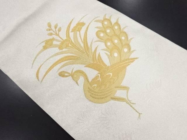 【IDN】 綴れ孔雀に草花模様織り出し袋帯【リサイクル】【中古】【着】