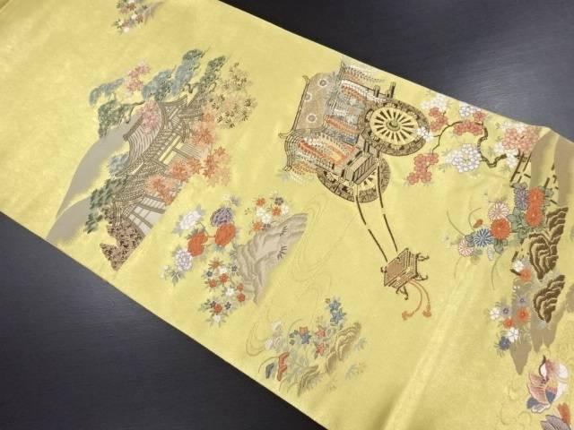 【IDN】 本金箔屋敷に草花・御所車模様織り出し袋帯【リサイクル】【中古】【着】