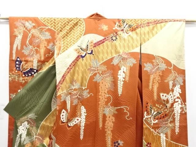 【IDN】 金彩 蝶に藤模様振袖・長襦袢・袋帯セット【リサイクル】【中古】【着】