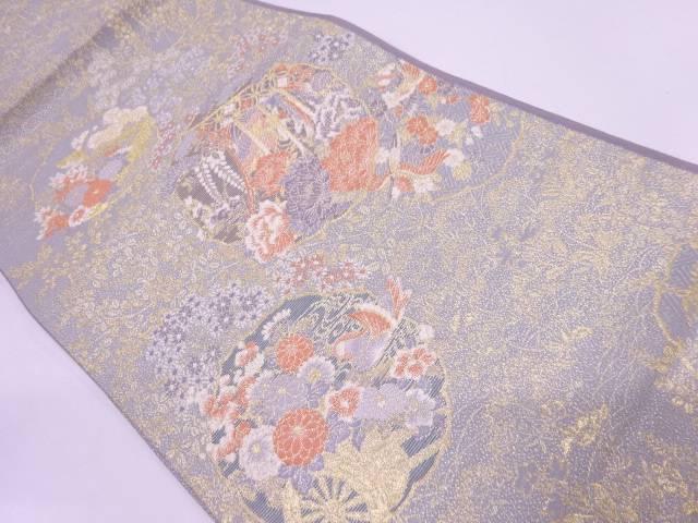 【IDN】 未使用品 志織製 草花に鳳凰・花車模様織出し袋帯【リサイクル】【着】