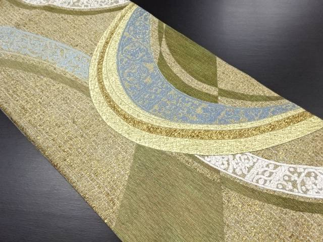 【IDN】 渡部泰明 金銀糸抽象線描きに花更紗模様織り出し袋帯【リサイクル】【中古】【着】