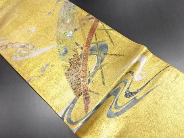 【IDN】 引箔螺鈿 蛇籠に宝尽くし模様織り出し袋帯【リサイクル】【中古】【着】