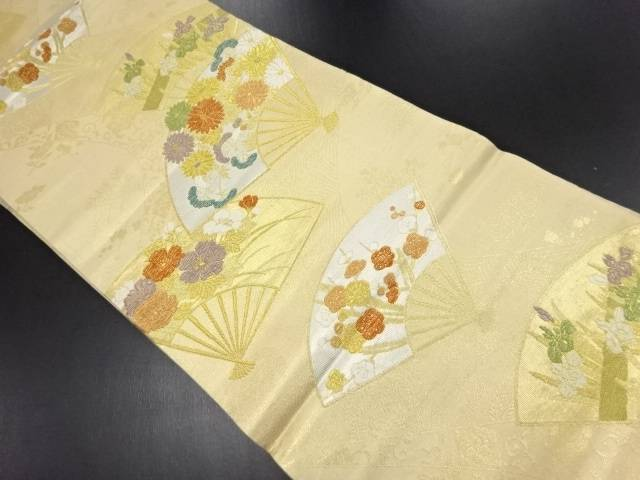 【IDN】 本金 花扇模様織り出し袋帯【リサイクル】【中古】【着】