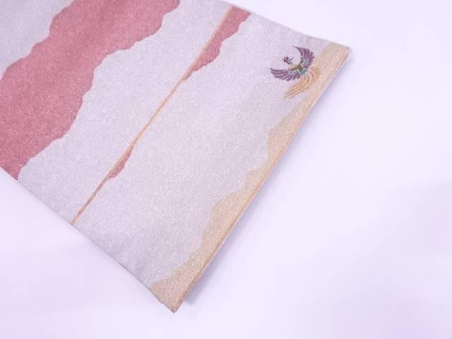 【IDN】 綴れ極楽鳥に抽象模様織出し袋帯【リサイクル】【中古】【着】