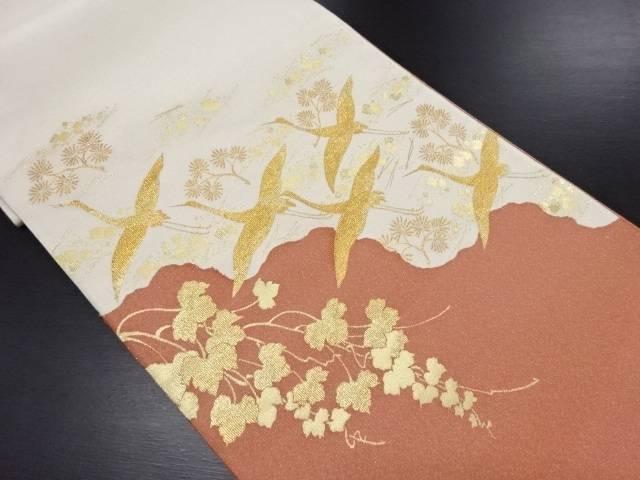 【IDN】 綴れ蒔絵寿鶴文織り出し袋帯【リサイクル】【中古】【着】