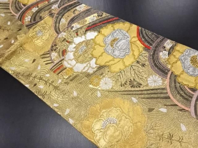 【IDN】 金銀糸波に牡丹模様織り出し袋帯【リサイクル】【中古】【着】